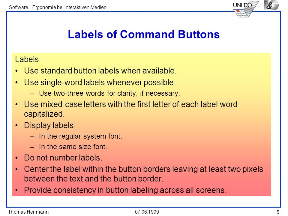 Labels of Command Buttons