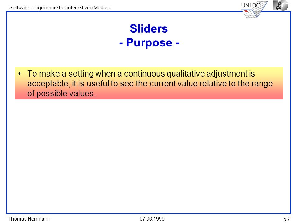Sliders - Purpose -