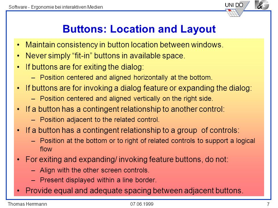 Buttons: Location and Layout