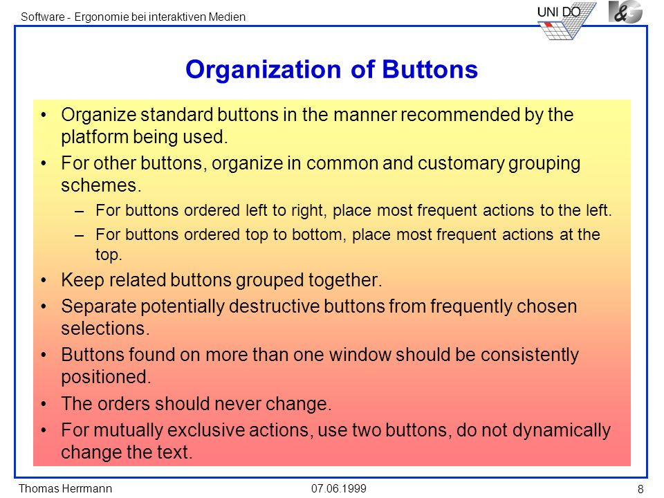 Organization of Buttons