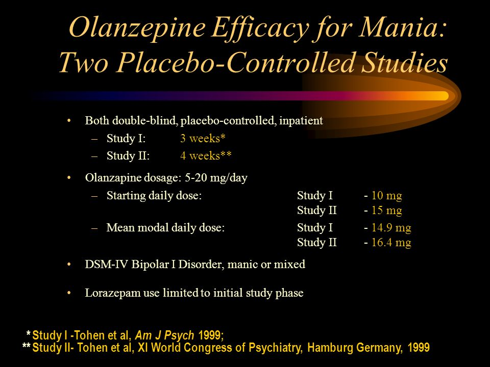 Olanzepine Efficacy for Mania: Two Placebo-Controlled Studies