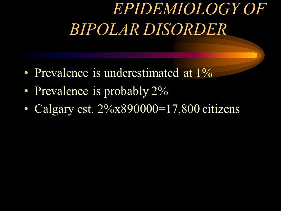 EPIDEMIOLOGY OF BIPOLAR DISORDER