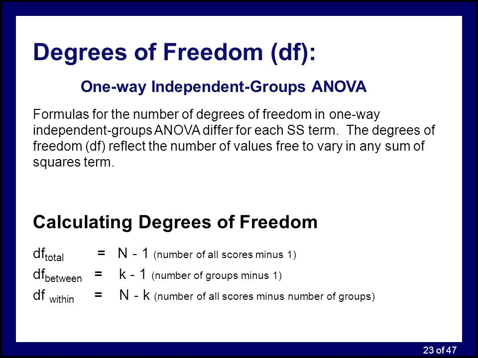 understand how to calculate degrees of freedom