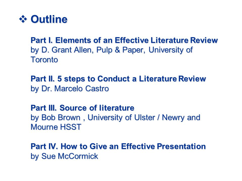 elements effective literature review