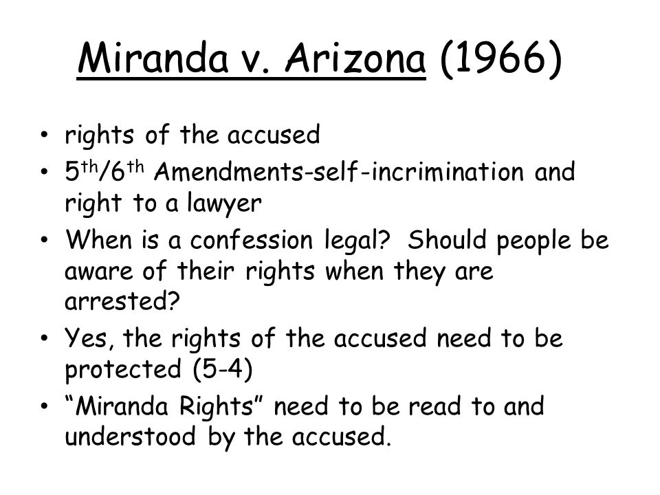 """5th amendment right to be free of self-incrimination (miranda v. arizona) essay Free essays from bartleby 