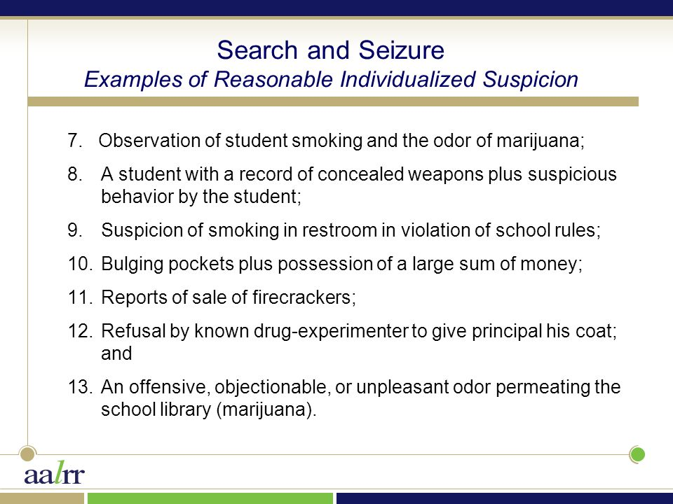 Reasonable Suspicion School Searches TODAY'S TOPIC...