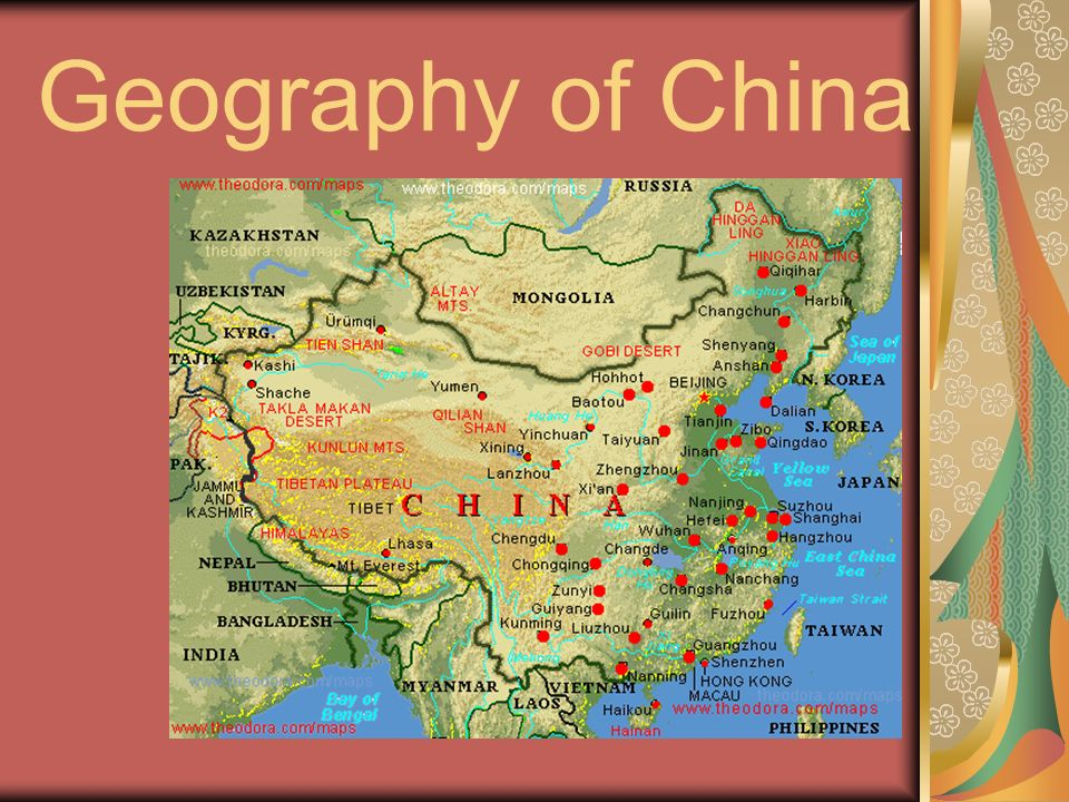 a geography of china Kids learn about the geography of china the history, capital, flag, climate, terrain, people, economy, and population.