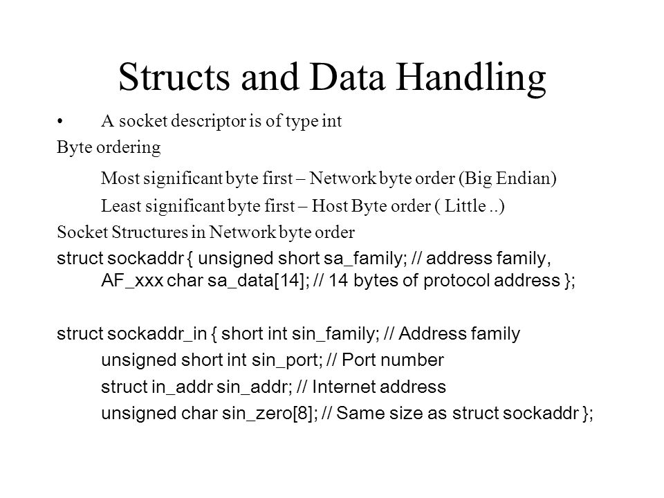 Structs and Data Handling