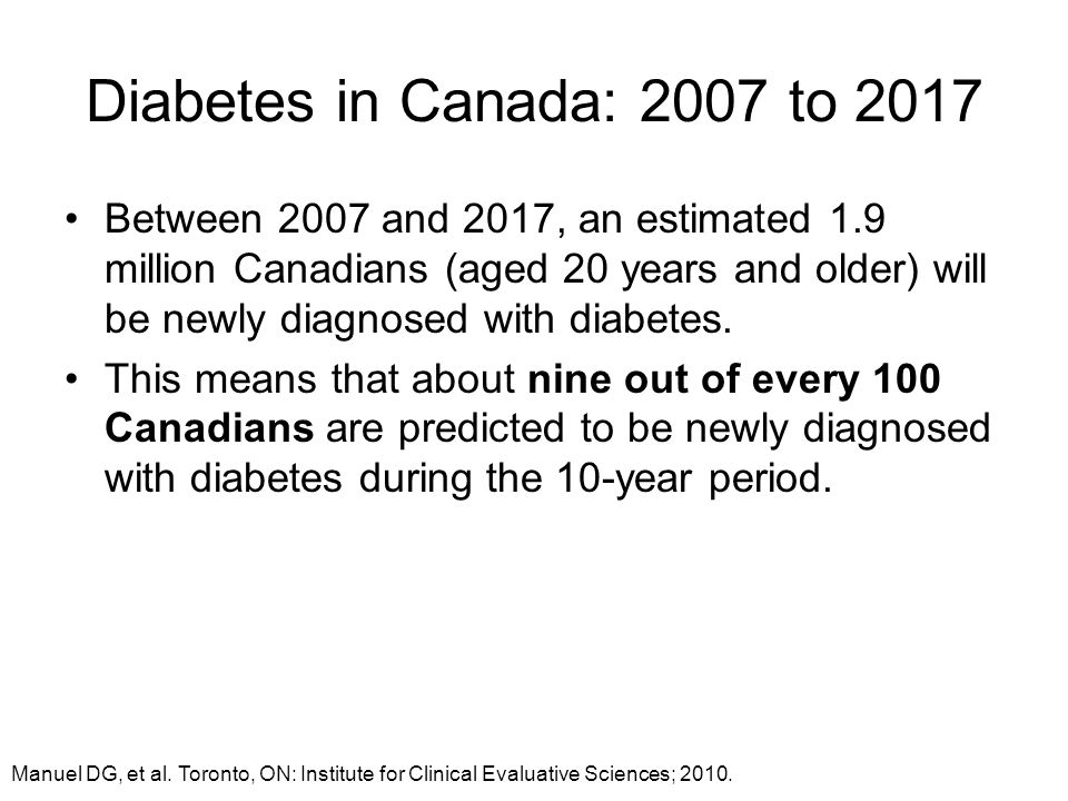 Diabetes in Canada: 2007 to 2017