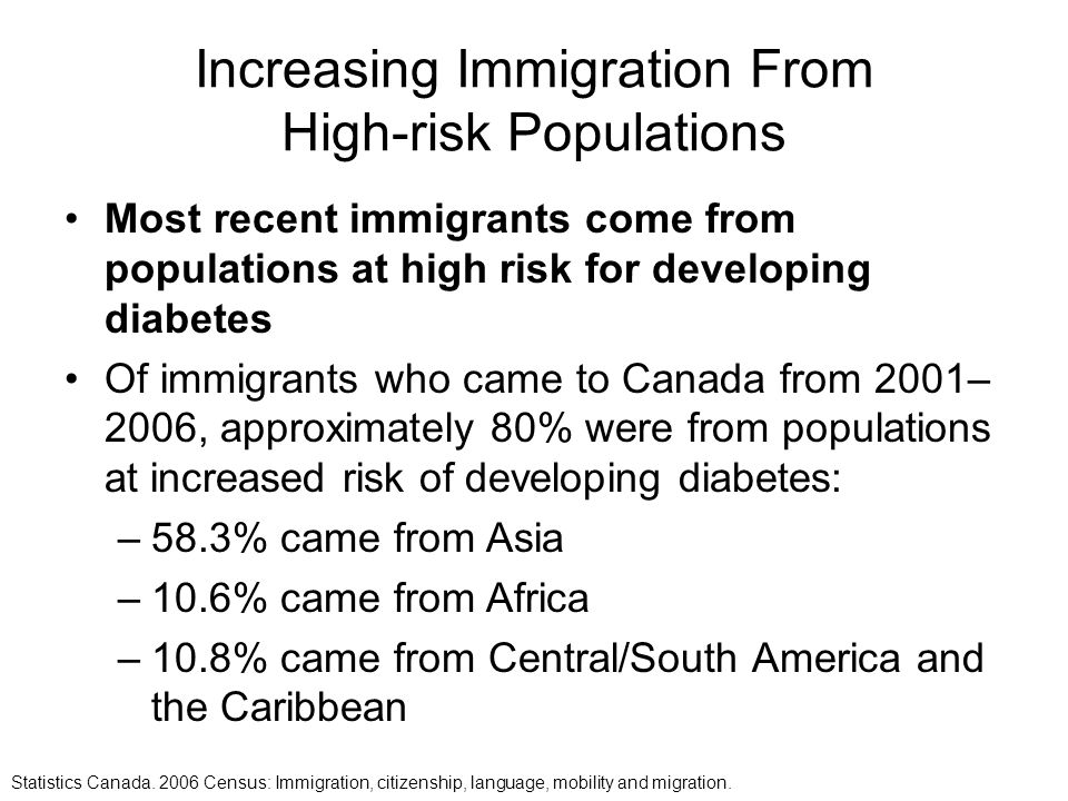 Increasing Immigration From High-risk Populations