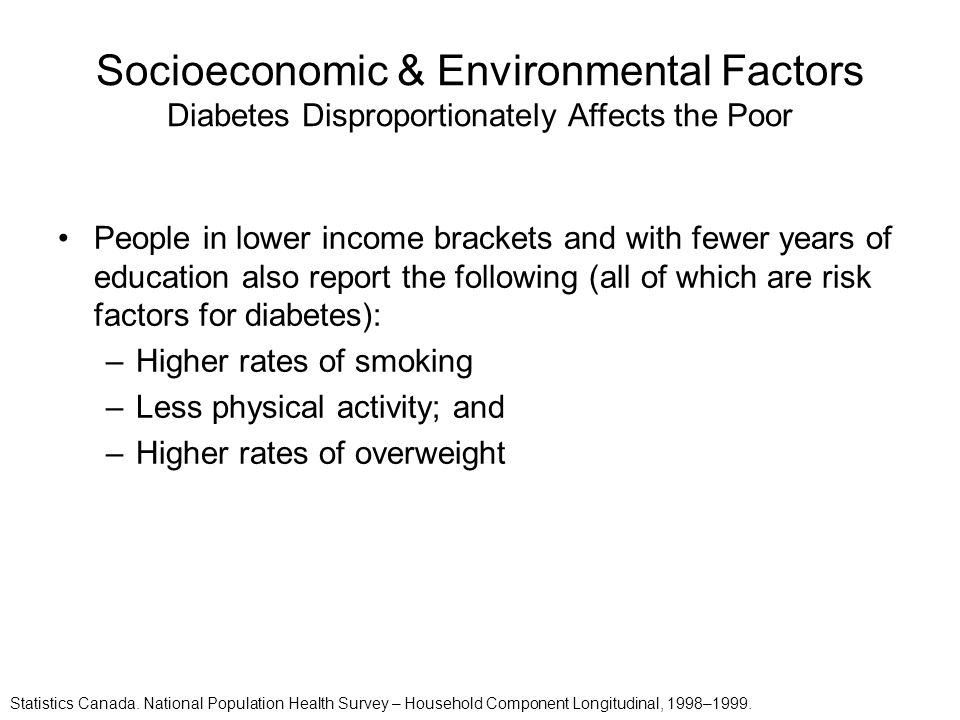 Socioeconomic & Environmental Factors Diabetes Disproportionately Affects the Poor