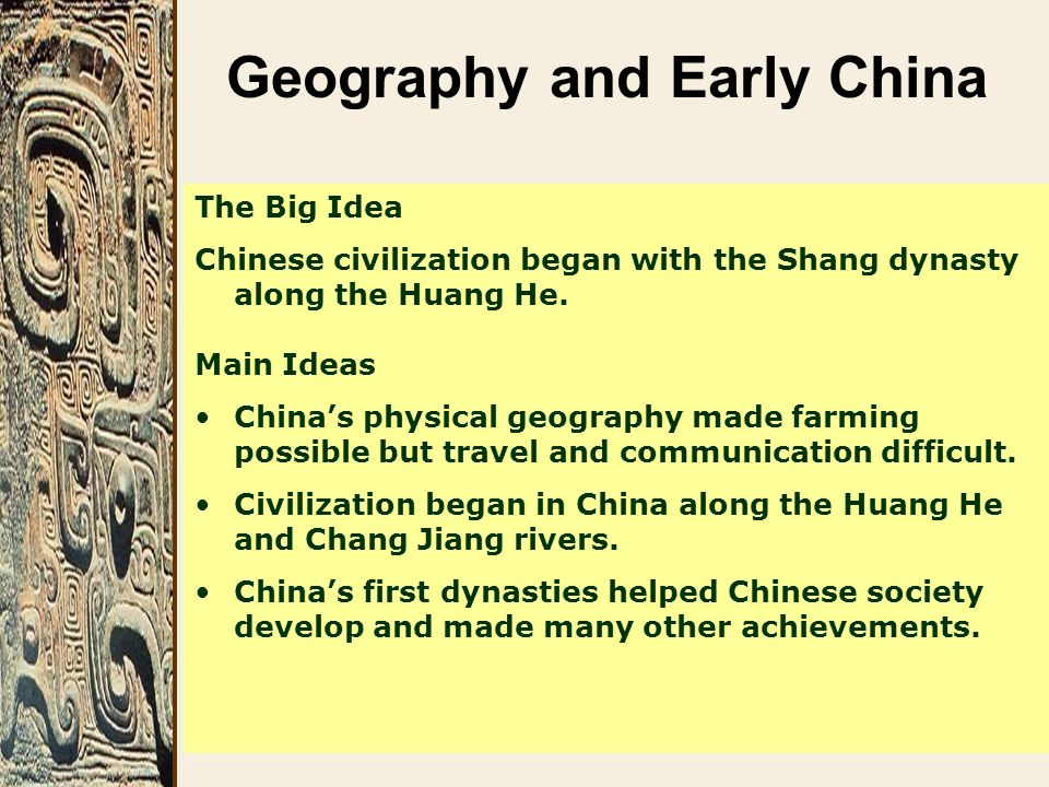 geography and early civilizations The geography of china impacted the development of early civilizations in china the best areas to settle were in the areas near the yangtze river and the yellow river.
