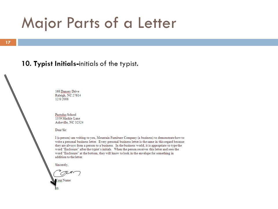 Business english lecture 7 ppt download 17 major parts of a letter 10 typist initials initials of the typist spiritdancerdesigns Gallery
