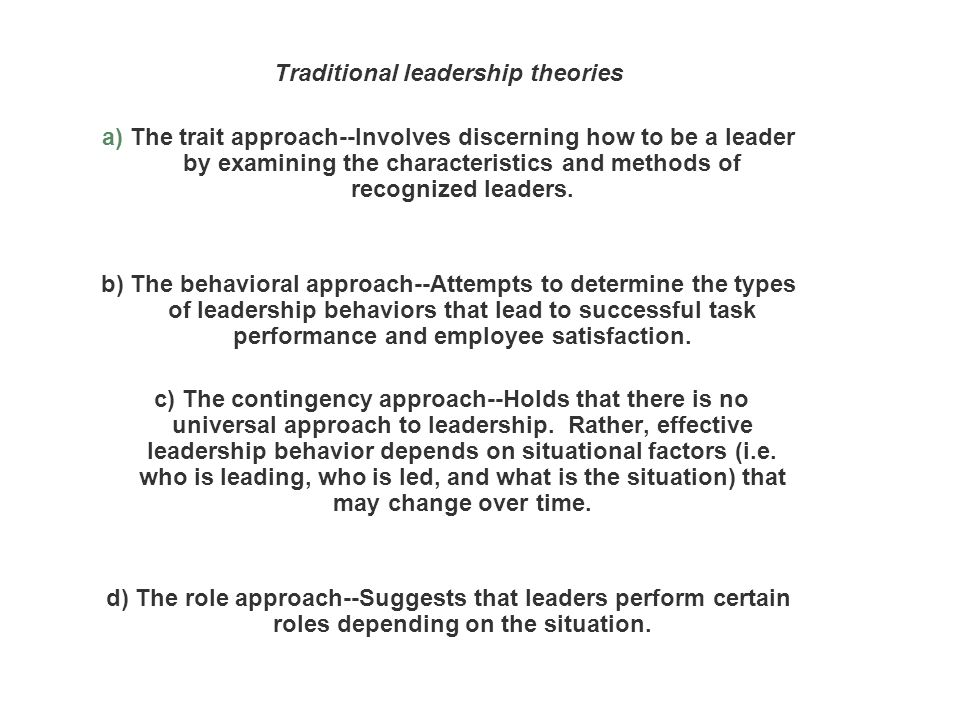 examining leadership theories Leadership & faculty  five counseling theories and approaches  (examining dreams for important information about the unconscious), and transference.