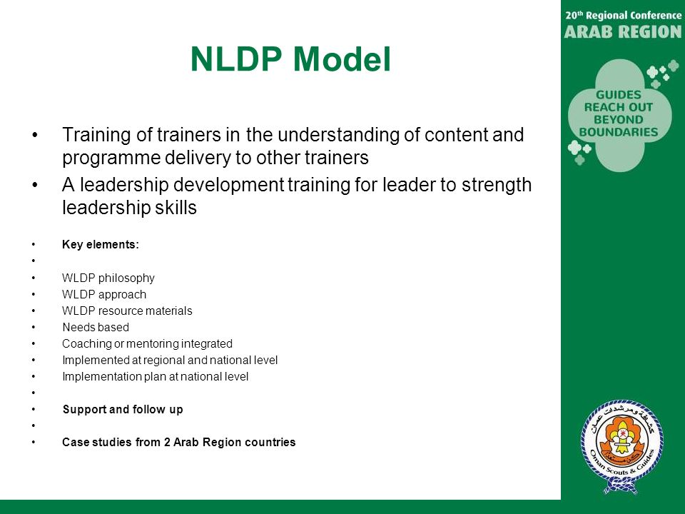 NLDP Model Training of trainers in the understanding of content and programme delivery to other trainers.