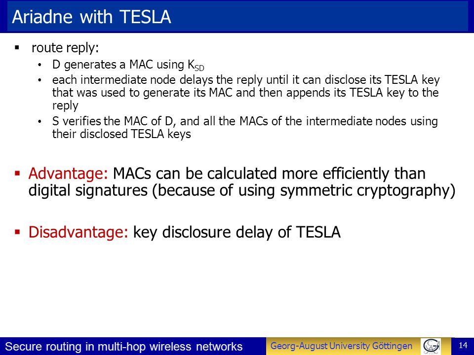 Ariadne with TESLA route reply: D generates a MAC using KSD.