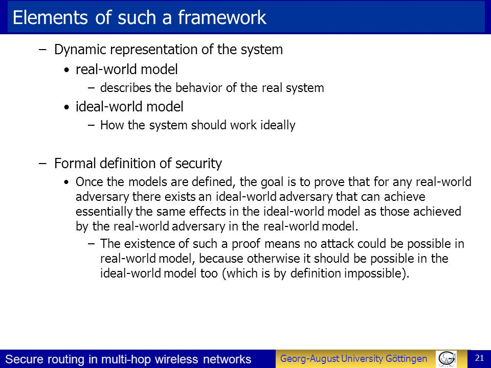 Elements of such a framework