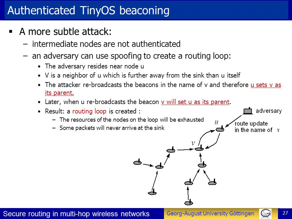Authenticated TinyOS beaconing