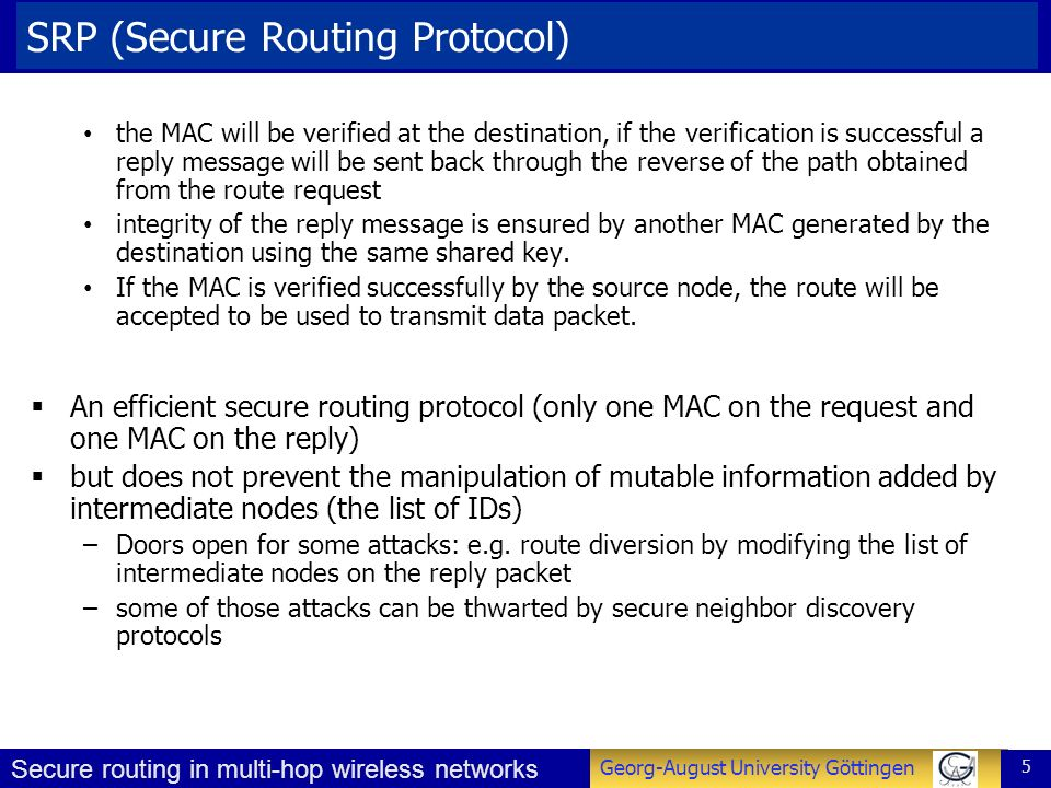 SRP (Secure Routing Protocol)