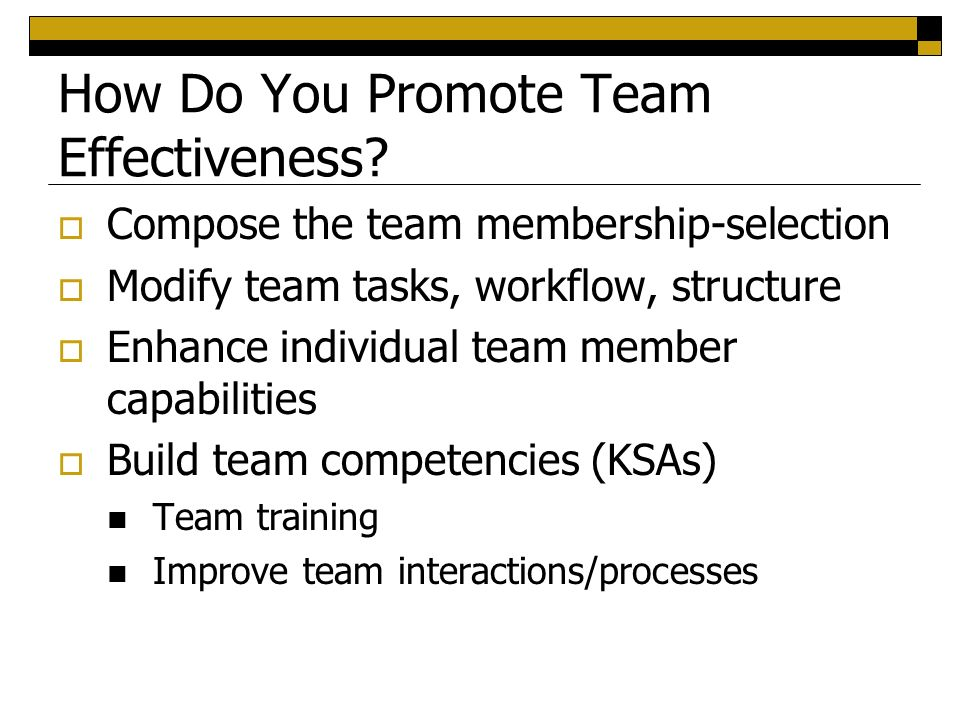 promote team effectiveness Whether it is on the field or in the locker room, effective coaches need to   coaches can promote this team characteristic by stressing the importance of  each.