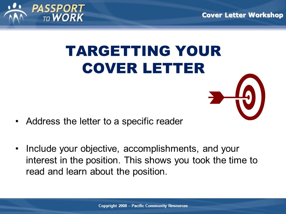 TARGETTING YOUR COVER LETTER