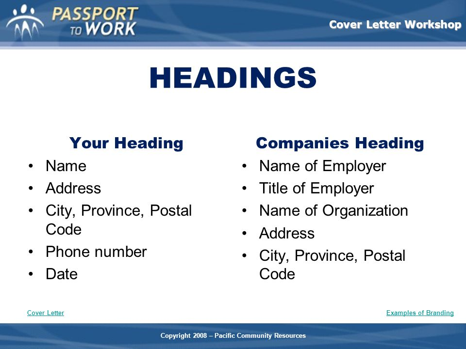 HEADINGS Your Heading Name Address City, Province, Postal Code