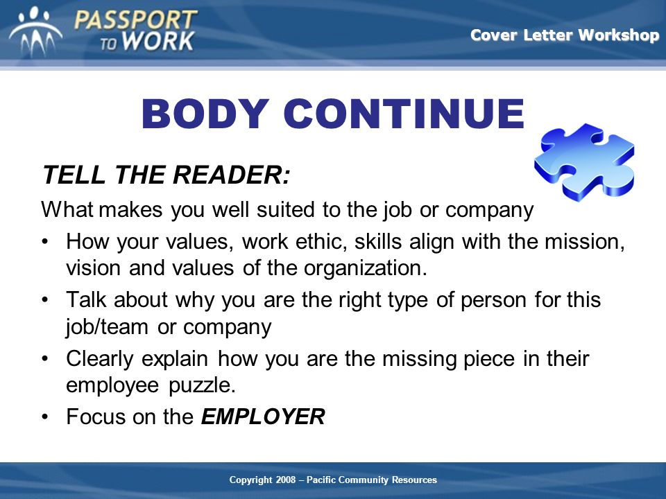 BODY CONTINUE TELL THE READER: