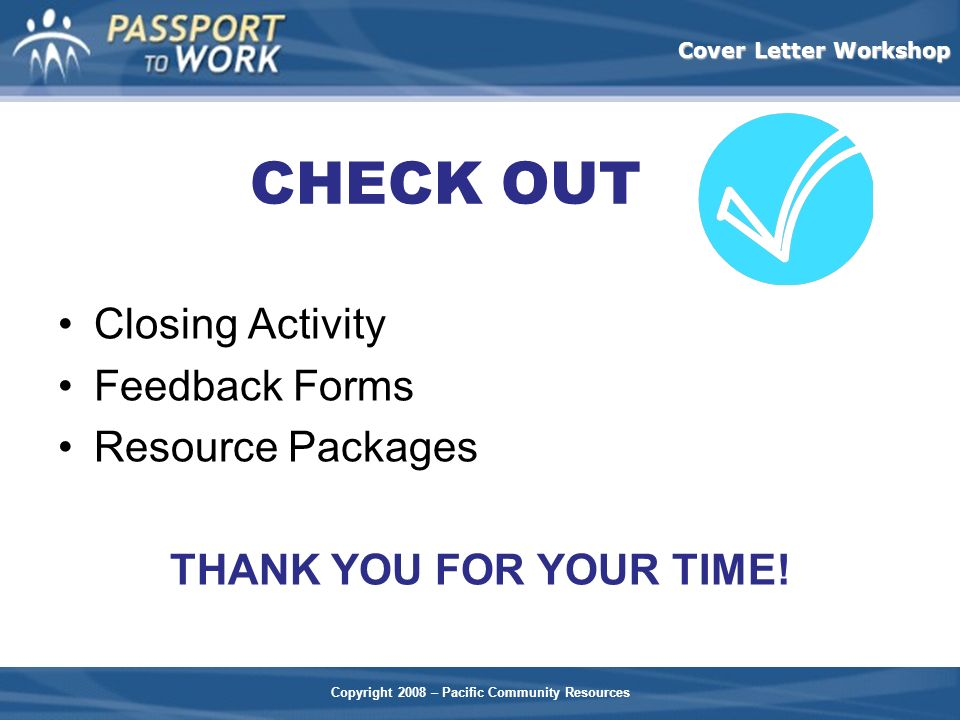 CHECK OUT Closing Activity Feedback Forms Resource Packages