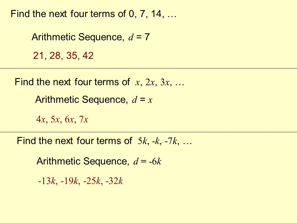 Find the next four terms in the arithmetic sequence