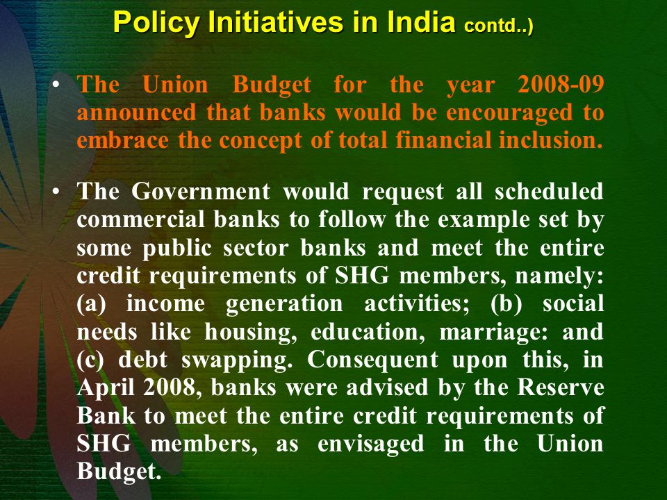social sector initiatives in india pdf