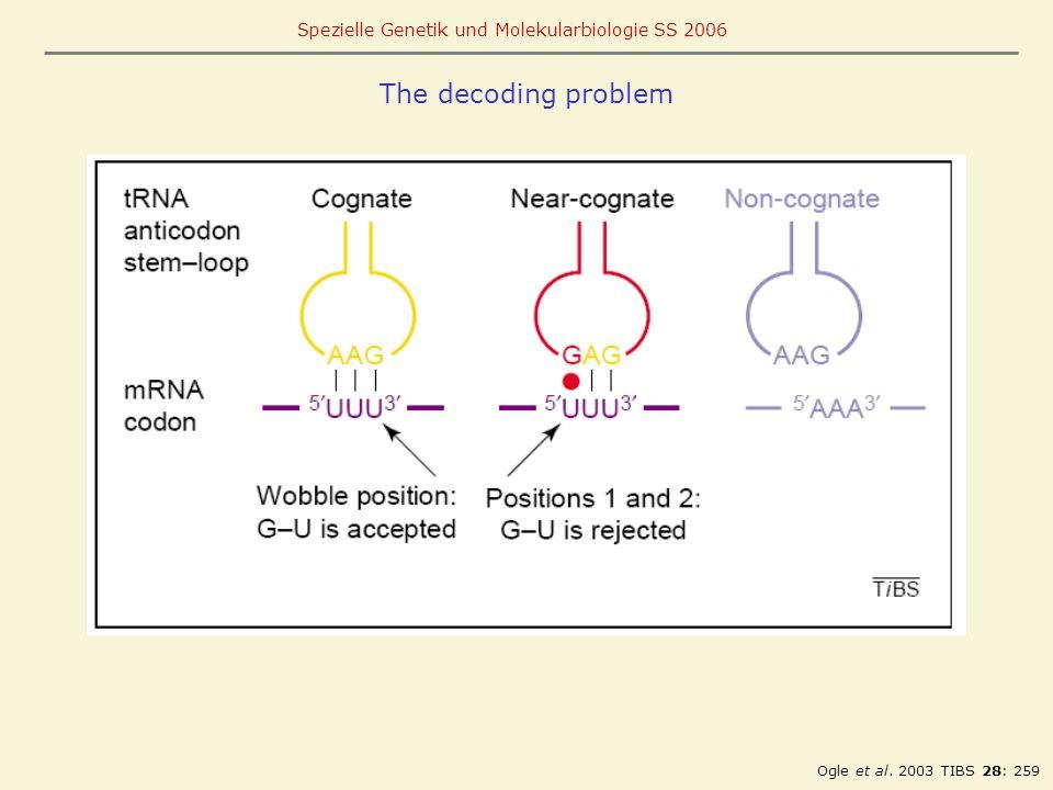 The decoding problem Ogle et al. 2003 TIBS 28: 259