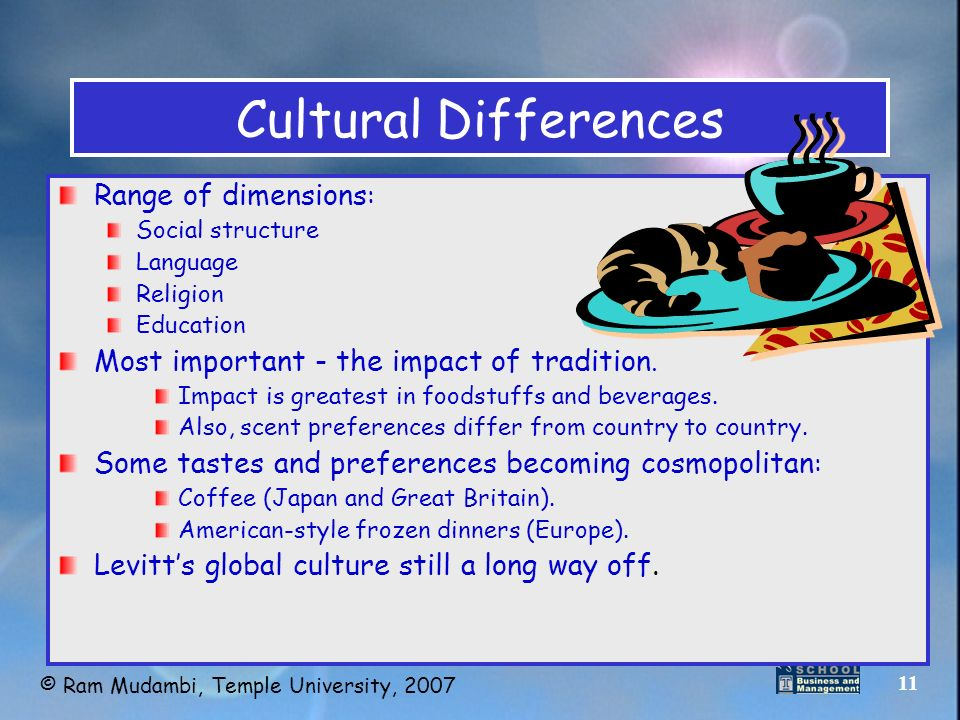 effect of cultural differences in global marketplace Japan is often considered more western in culture than other asian countries compared to the united states, there are certainly a lot of similarities but japan and the us do have many cultural differences as well though no people can be generalized as a whole, and, like america, culture can.