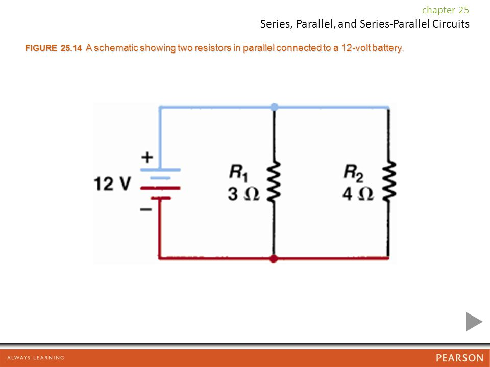 FIGURE A schematic showing two resistors in parallel connected to a 12-volt battery.