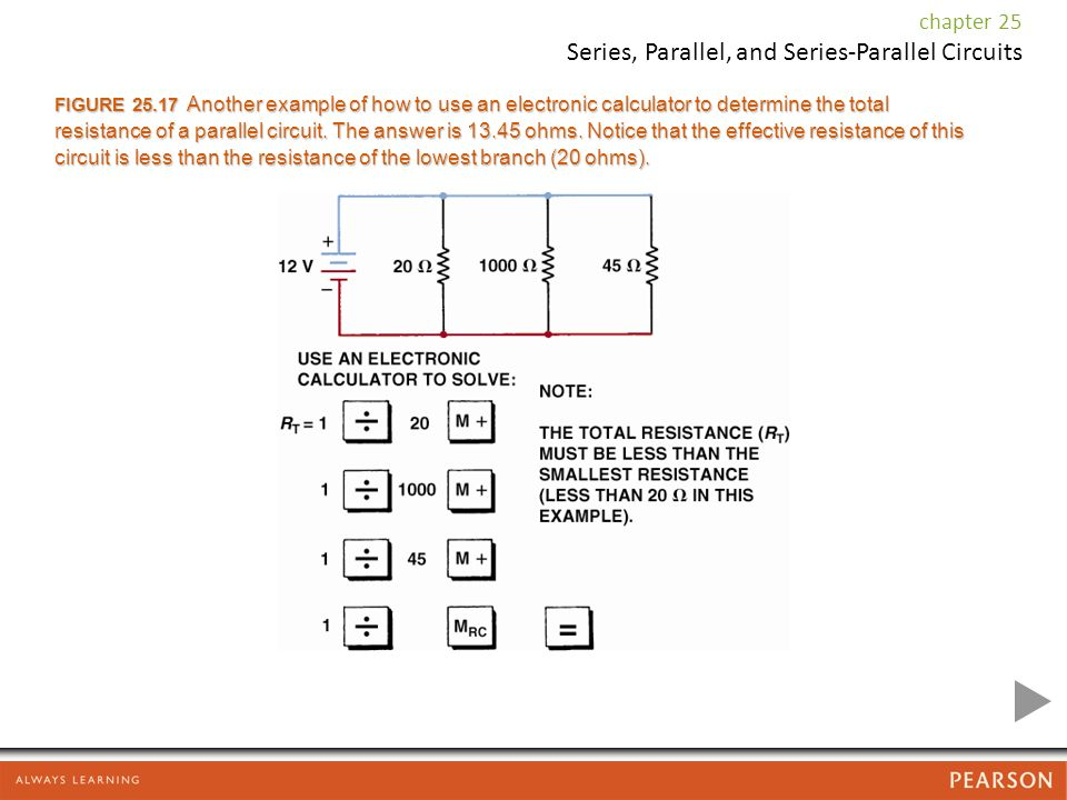 FIGURE Another example of how to use an electronic calculator to determine the total resistance of a parallel circuit.