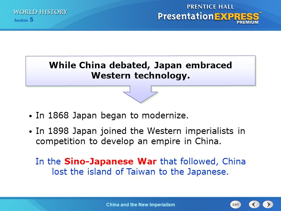 While China debated, Japan embraced Western technology.