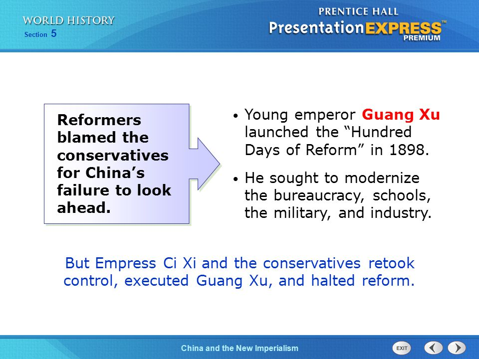 Young emperor Guang Xu launched the Hundred Days of Reform in 1898.