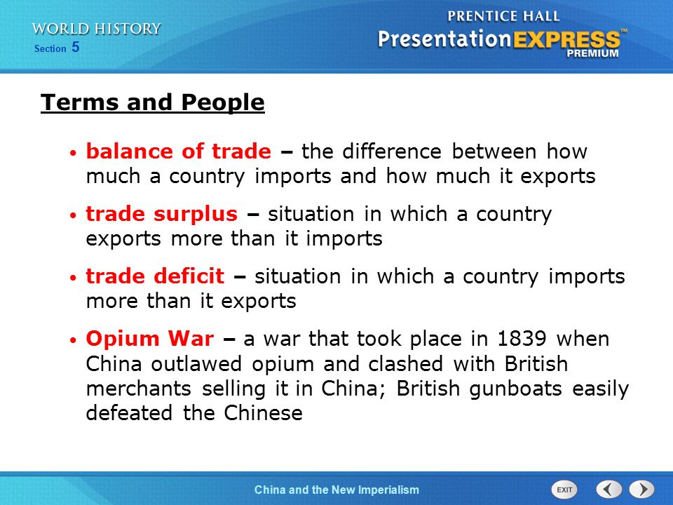 Terms and People balance of trade – the difference between how much a country imports and how much it exports.