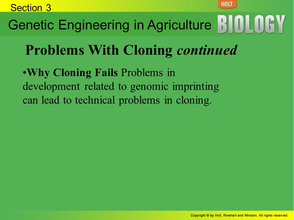 Problems With Cloning continued
