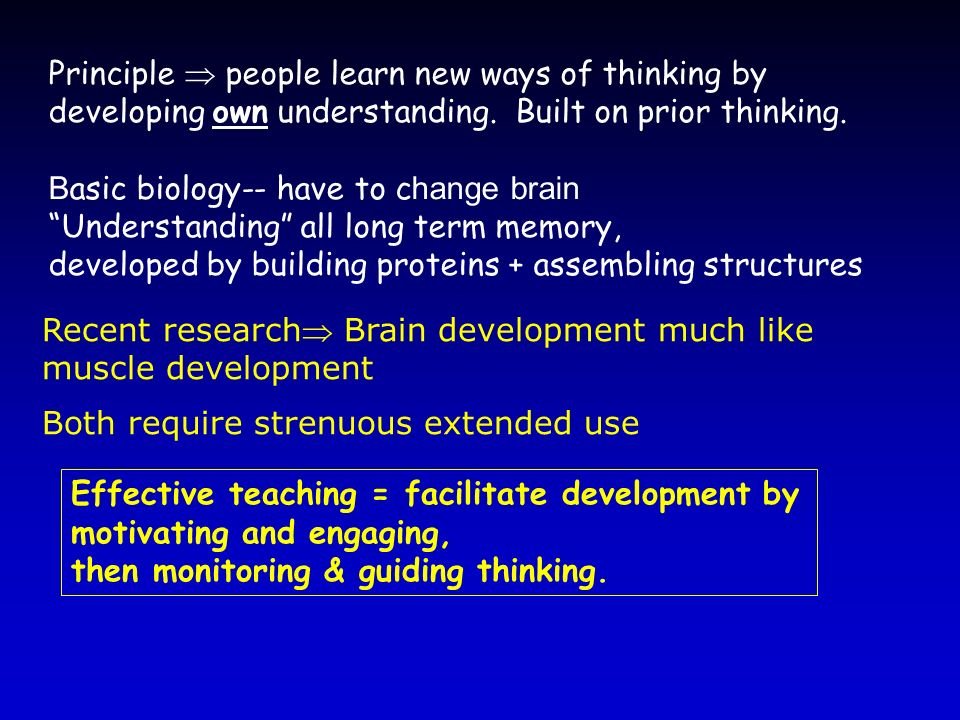 Principle  people learn new ways of thinking by developing own understanding. Built on prior thinking.