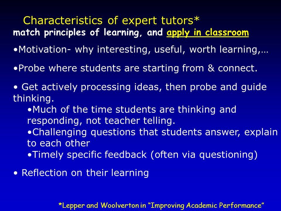 Characteristics of expert tutors*