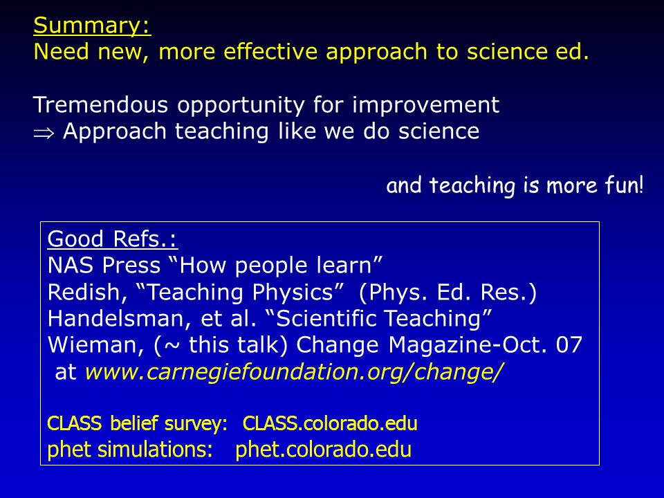 Need new, more effective approach to science ed.