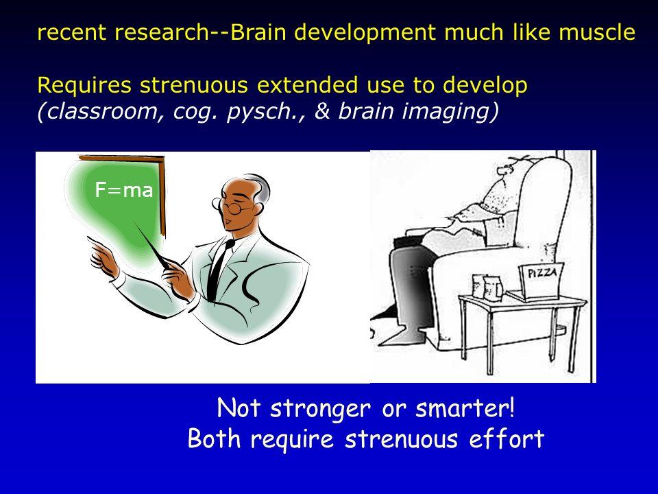 Not stronger or smarter! Both require strenuous effort
