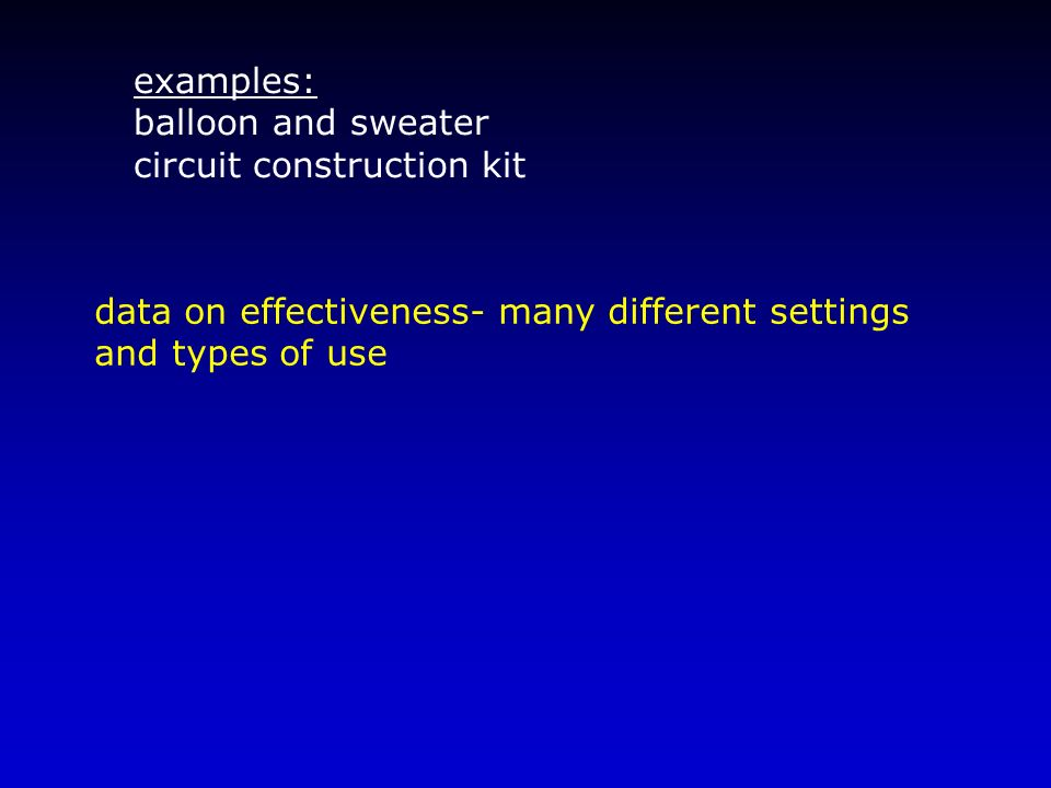 examples: balloon and sweater. circuit construction kit. data on effectiveness- many different settings.