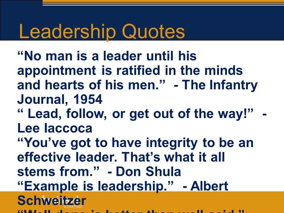 Lead Follow Or Get Out Of The Way Quote: A LEADERSHIP TOOLKIT.