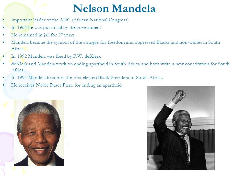 Nelson Mandela Important leader of the ANC (African National Congress)