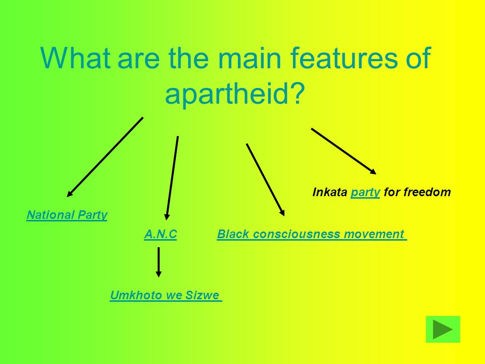 What are the main features of apartheid
