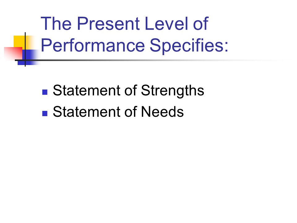 The Present Level of Performance Specifies: