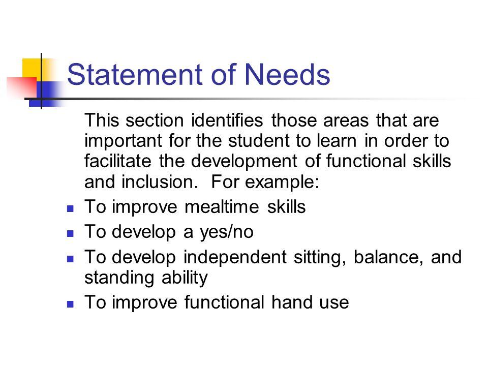 Statement of Needs