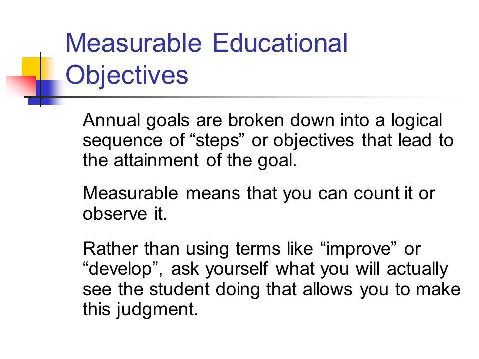 Measurable Educational Objectives