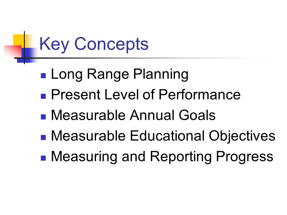 Key Concepts Long Range Planning Present Level of Performance
